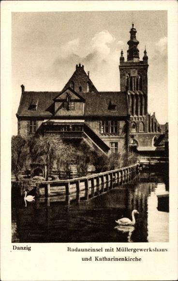 Ak Gdańsk Danzig, Radauneinsel mit Müllergewerkshaus und Katharinenkirche