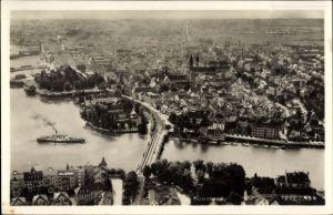 Ak Konstanz am Bodensee, Blick auf die Stadt, Dampfer, Brücke, Kirche