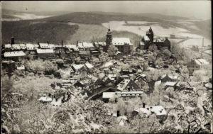 Ak Schwarzenberg im Erzgebirge Sachsen, Blick vom Rockelmann auf den Ort, Winteransicht