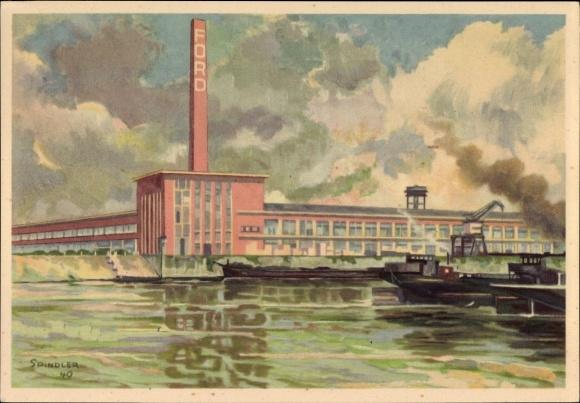 Künstler Ak Spindler, Köln am Rhein, Das Ford Autowerk am Rhein, Ford Taunus, V 8