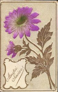 Ak Amitié sincère, Aufrichtige Freundschaft, Blume, Kitsch