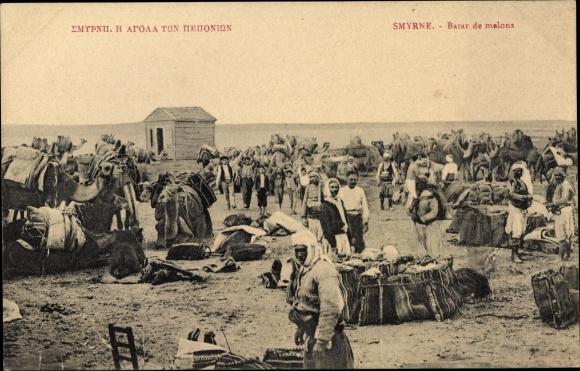 Ak Smyrna Izmir Türkei, Bazar de melons, Melonenmarkt