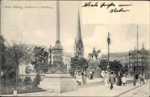 Ak Hamburg Mitte Altstadt, Kaiser Wilhelm Denkmal auf dem Rathausmarkt