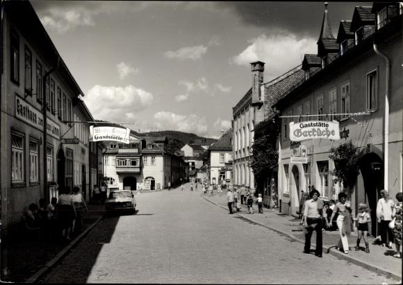 Ak Leutenberg in Thüringen, Gaststätte Garküche, Gasthaus zum weißen Lamm, Straßenpartie
