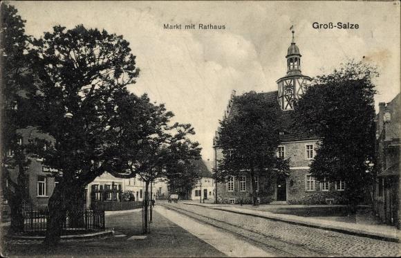 Ak Groß Salze Salzelmen Schönebeck an der Elbe, Markt mit Rathaus