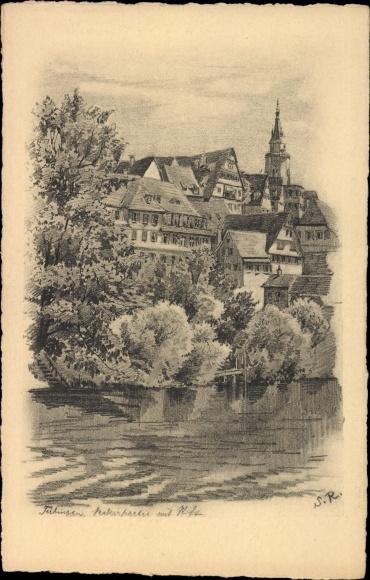 Künstler Ak Tübingen am Neckar Baden Württemberg, Teilansicht der Stadt, Kirchturm