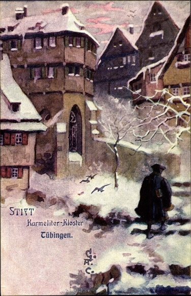 Künstler Ak Tübingen am Neckar Baden Württemberg, Partie am Karmelitenkloster, Stift