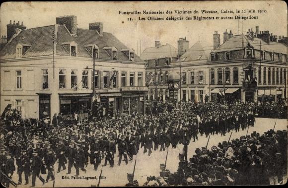 Ak Calais Pas de Calais, Funérailles Nationales des Victimes du Pluvoise, 22. Juin 1910