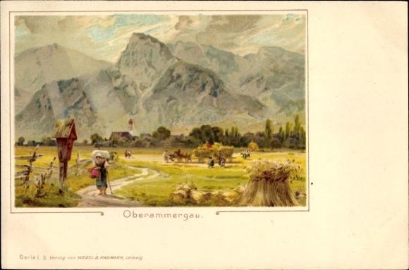 Litho Oberammergau in Oberbayern, Gebirgspartie, Wanderin, Feldarbeit