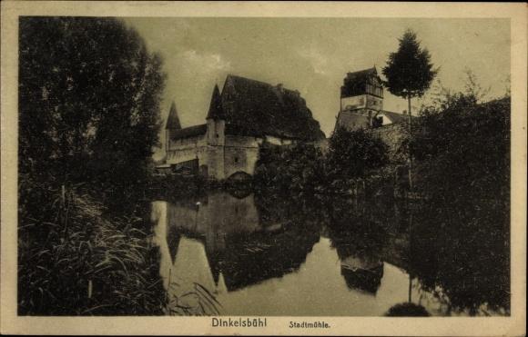 Ak Dinkelsbühl im Kreis Ansbach Mittelfranken, Blick zur Stadtmühle