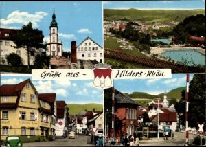 Wappen Ak Hilders in Hessen, Blick auf den Ort mit Umgebung, Freibad, Deutsches Haus