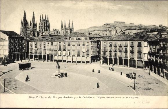 Ak Burgos Kastilien und León, Plaza Mayor, Platz mit Blick zur Kathedrale, Kirche, Schloss, Denkmal