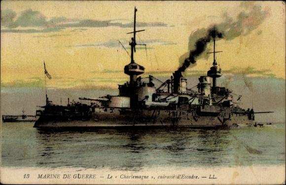 Ak Französisches Kriegsschiff, Le Charlemagne, Cuirassé d'Escadre, Marine Militaire Francaise