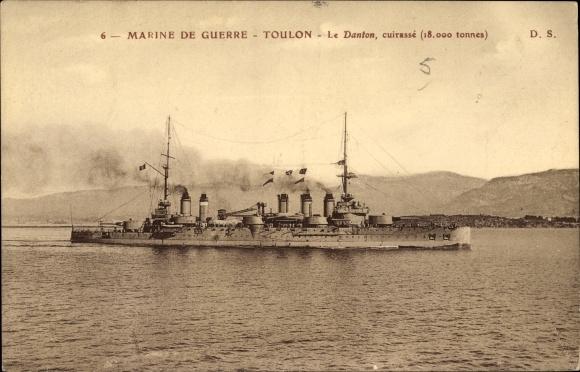 Ak Französisches Kriegsschiff, Le Danton, Cuirassé, Marine Militaire Francaise