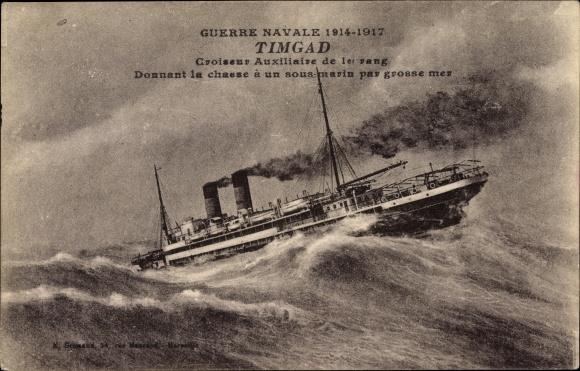 Künstler Ak Französisches Kriegsschiff, Timgad, Croiseur Auxiliaire de 1er rang
