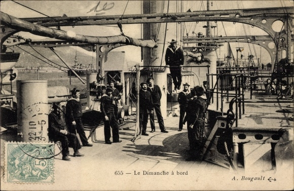 Ak Le Dimanche à bord, Französische Matrosen an Bord eines Kriegsschiffes, Sonntagsbeschäftigung