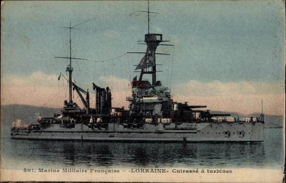 Ak Französisches Kriegsschiff, Lorraine, Cuirassé à turbines, Marine Militaire Francaise