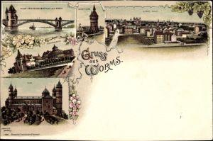 Litho Worms in Rheinland Pfalz, Festspielhaus, Dom, Wasserturm, Neue Verkehrsbrücke