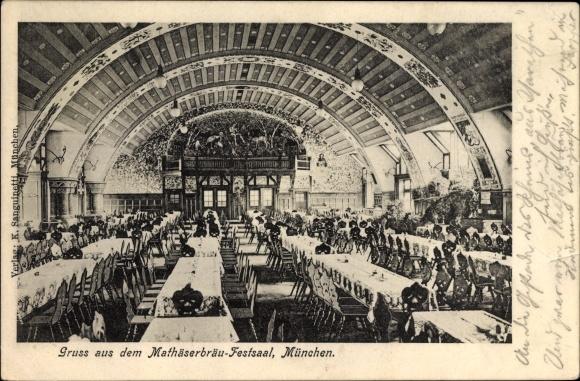 Ak München Bayern, Innenansicht vom Mathäserbräu Festsaal