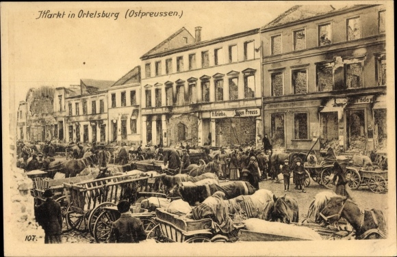 Ak Szczytno Ortelsburg Ostpreußen, Marktplatz, Ostpreußenhilfe, Kriegszerstörungen, I. WK