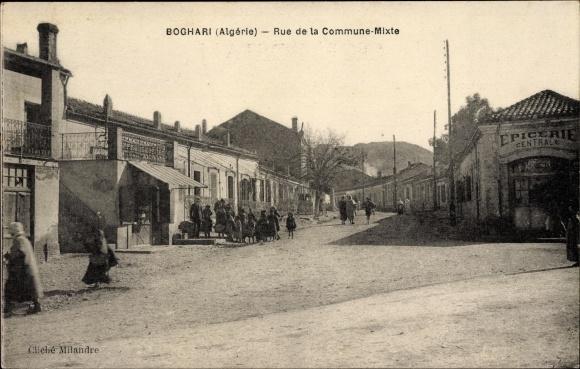 Ak Boghari Ksar el Boukhari Algerien, Rue de la Commune Mixte, Straßenpartie