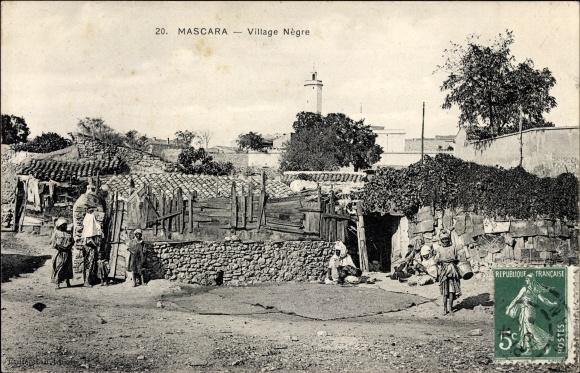 Ak Mascara Algerien, Village Negre, Dorfansicht, Anwohner