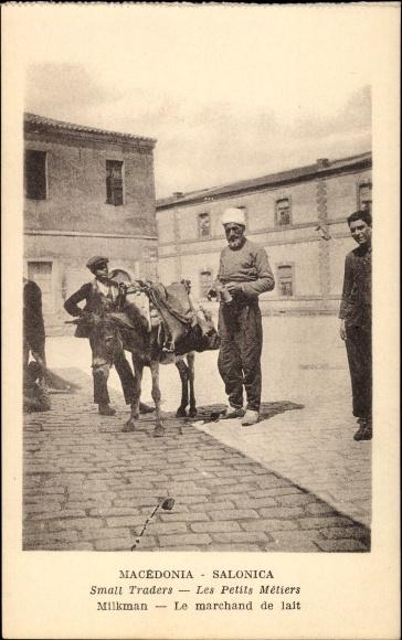 Ak Thessaloniki Griechenland, Small traders, Les Petits Métiers, Milkman, Marchand de lait