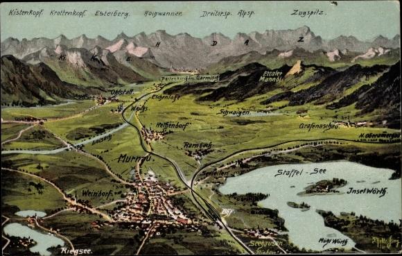Landkarten Ak Felle, Eugen, Murnau am Staffelsee in Oberbayern, Blick auf den Ort aus der Vogelschau