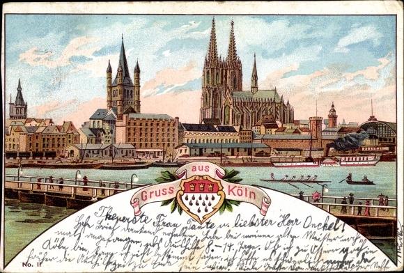 Wappen Litho Köln am Rhein, Blick zur Altstadt, Dom, Hauptbahnhof, Brücke