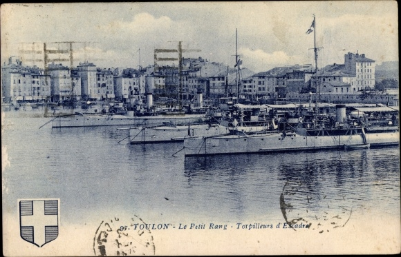 Wappen Ak Toulon Var, Le Petit Rang, Torpilleurs d'Escadre, Torpedoboot, Französisches Kriegsschiff