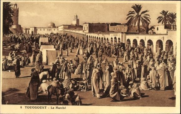 Ak Touggourt Algerien, Le Marché, Partie am Markt