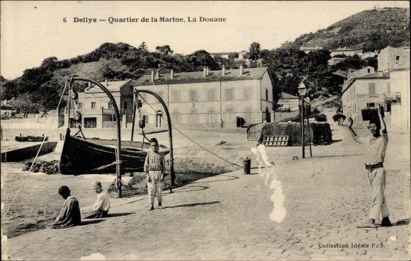 Ak Dellys Algerien, Quartier de la Marine, Marine Militaire Francaise, La Douane, Zollgebäude