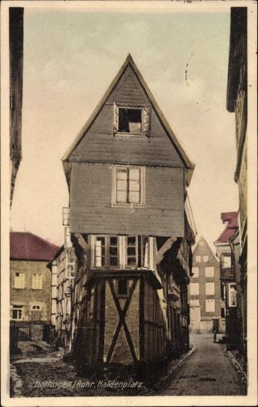 Ak Hattingen im Ennepe Ruhr Kreis, Fachwerkhaus am Haldenplatz