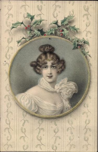 Künstler Ak v. Wichera, R.R., Frauenportrait, Stechpalmenblätter, Munk Nr 229