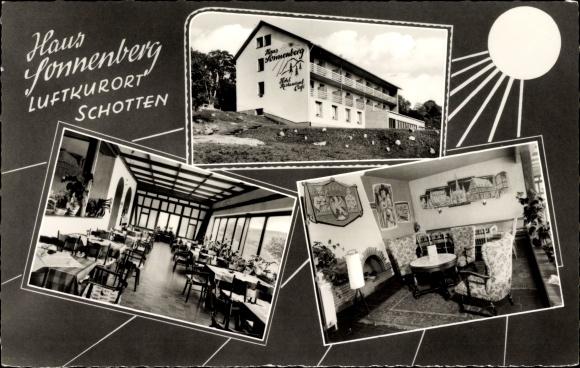 Passepartout Ak Schotten im Vogelsbergkreis Hessen, Blick auf und in das Haus Sonnenberg