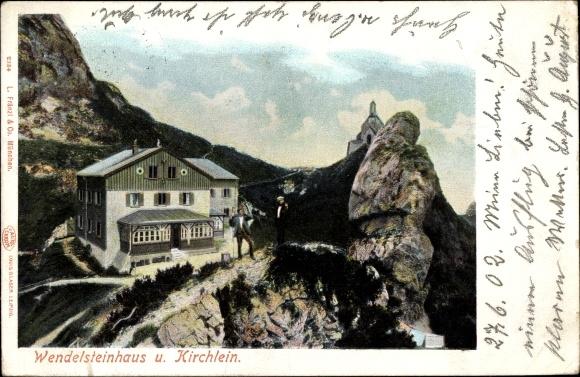 Ak Wendelstein Bayrischzell im Mangfallgebirge Oberbayern, Blick auf Wendelsteinhaus und Kirchlein