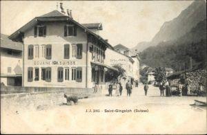 Ak Saint Gingolph Kt. Wallis, Douane Suisse, Cafe de la Poste, Schweizer Zollstation