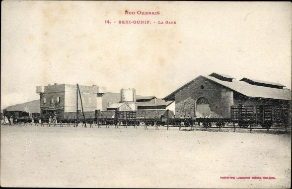 Ak Beni Ounif Algerien, La Gare, Güterzug vor dem Bahnhof
