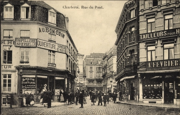 Ak Charleroi Wallonien Hennegau, Rue du Pont, Au bon Coin, Straßenpartie