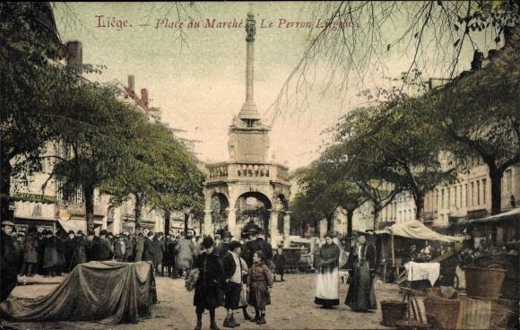 Ak Liège Lüttich Wallonien, Place du Marché, Le Perron Liegois, Markt