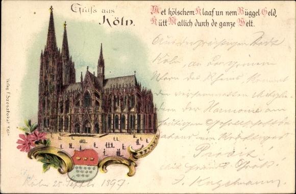 Wappen Litho Köln am Rhein, Blick zum Dom, Seitenansicht