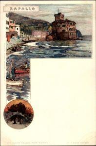 Künstler Litho Wielandt, Manuel, Rapallo Liguria, Küstenpartie, Boote, Brücke
