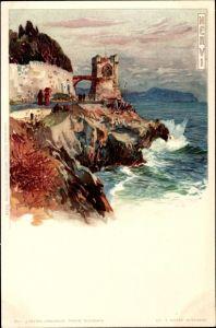 Künstler Litho Wielandt, Manuel, Nervi Ligurien, Küstenpartie, Promenade, Turm