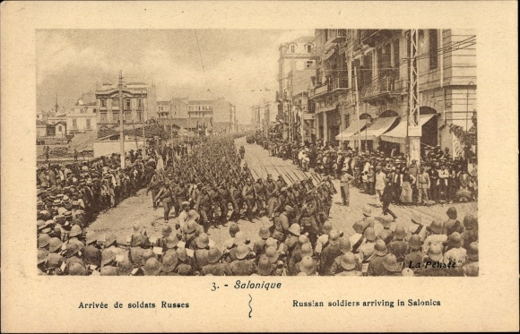 Ak Thessaloniki Griechenland, Arrivée de soldats russes, Russische Truppen, I. WK