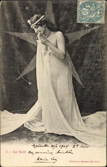 Ak La Nuit, Allegorie, die Nacht, Frau, Stern, Edition Bergeret