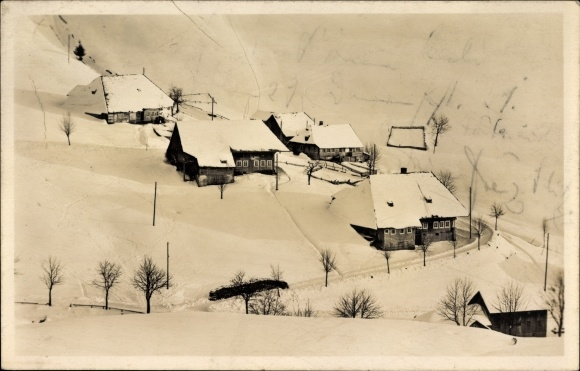 Ak Todtnauberg Todtnau im Südschwarzwald Kreis Lörrach, Schwarzwaldhäuser im Winter