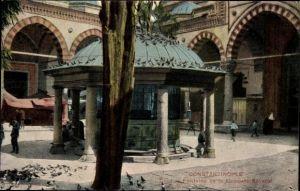 Ak Konstantinopel Istanbul Türkei, Cour et Fontaine de la Mosquée Bayazid