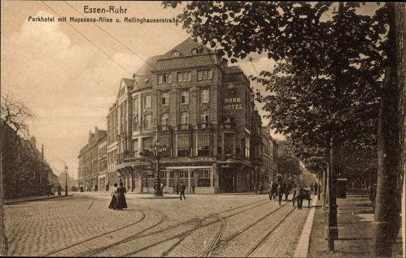 Ak Essen im Ruhrgebiet Nordrhein Westfalen, Parkhotel mit Huyssenallee und Rellinghauser Straße