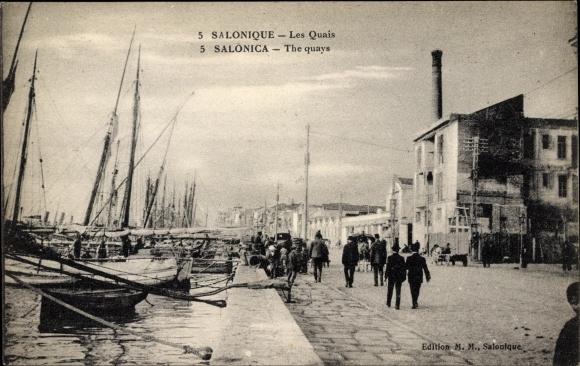 Ak Thessaloniki Griechenland, Les Quais, the quays, Bootsanlegestellen