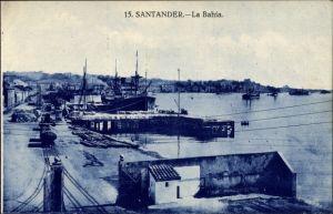 Ak Santander Kantabrien, La Bahía, Blick über die Bucht, Hafen